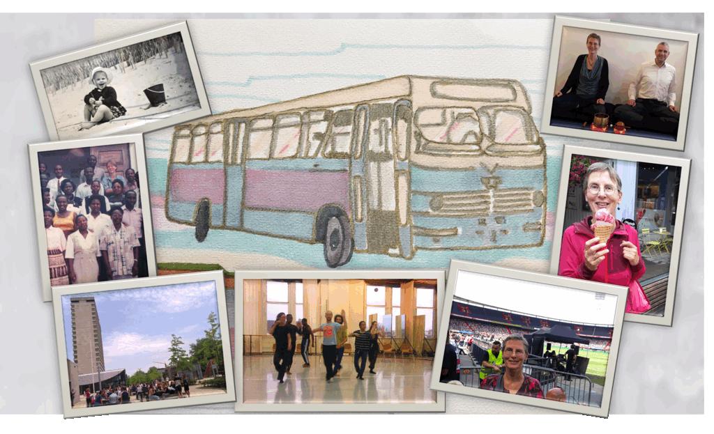 Hanneke Dijkman, werkgeluk , coach, zenleraar, Rotterdam Zuid, New Options tekening bus compilatie foto's