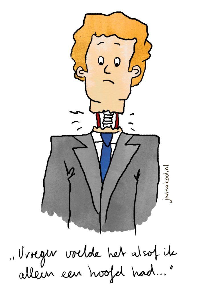 Hanneke Dijkman, Een 10 voor werkgeluk in vier stappen.  erkgeluk , coach, zenleraar, Rotterdam Zuid, New Options cartoon man met hoofd op schroef