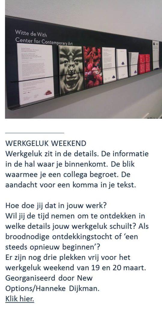 Werkgeluk, leerdoelen, voice dialogue, Rotterdam-Zuid, Werkgeluk weekend